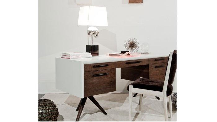 Tripod Desk / Tamara Magen {love this dark wood and white combo}