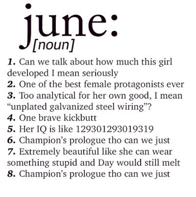 Summary of June - All of these are true<<<sorry to contradict, but I believe that her IQ is at least infinity times that number. And that's an understatement