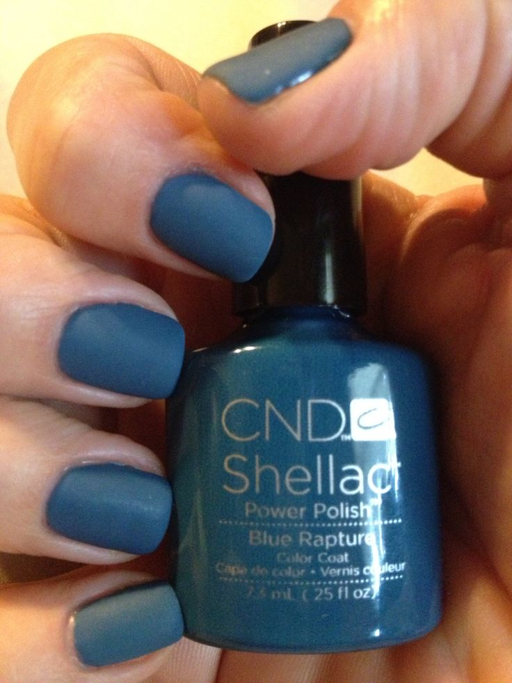 Blue Rapture In Shellac With A Matte Finish Nails