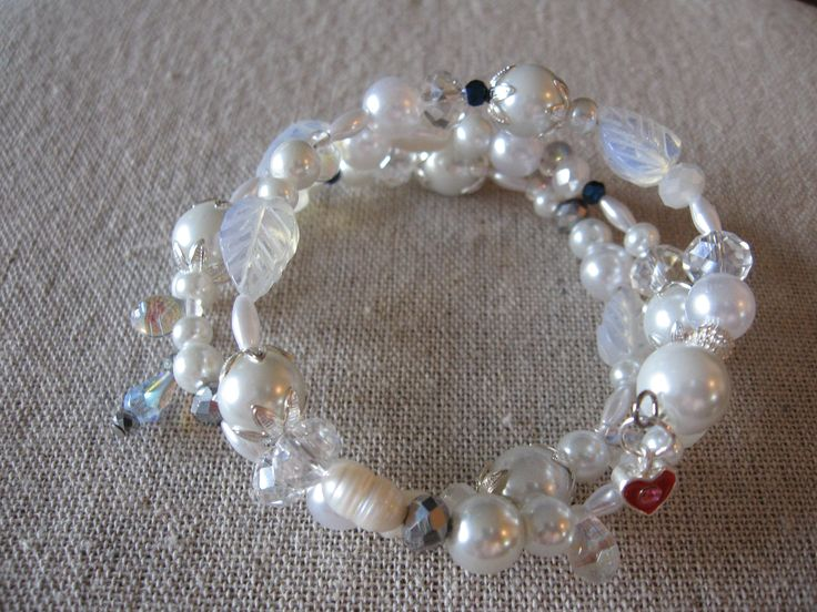 pearls & silver - wrap around bracelet