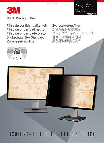"""3M Privacy Filter for 19"""" Standard Monitor (5:4) (PF190C4B)  Effective """"black out"""" privacy from side views outside the 60-degree viewing angle  Helps reduce reflections so you see your screen clearly with pristine image clarity  Reversible between a glossy side and glare-reducing matte  Designed with advanced microlouver technology, creating an excellent high-resolution viewing experience  Matte surface helps reduce glare and hide fingerprints.Designed to seamlessly fit within the rais..."""