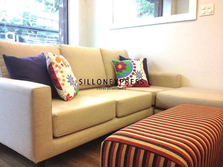 Sillon Esquinero con Puff Movible modelo Milano + Puff Banqueta Fiorella - Sillonexpress Argentina