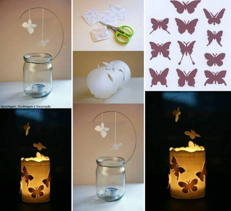 Luminária fofa, por reutilização de vidros de conservas... Vidro + Papel + Arame + Velinha