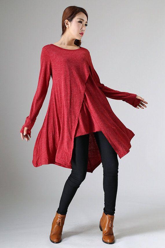 Womens Tunic Dress Red Dress Long Sleeve Tunic Knit by xiaolizi