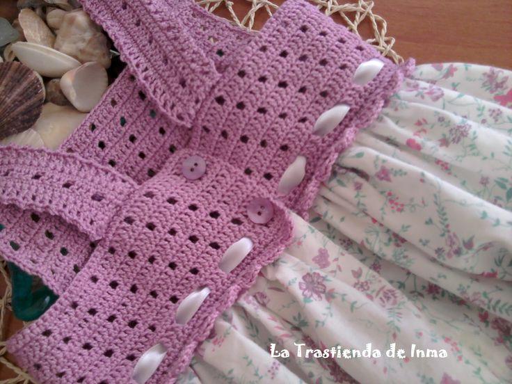 : Vestidos de Verano para niñas con aplicaciones en Crochet