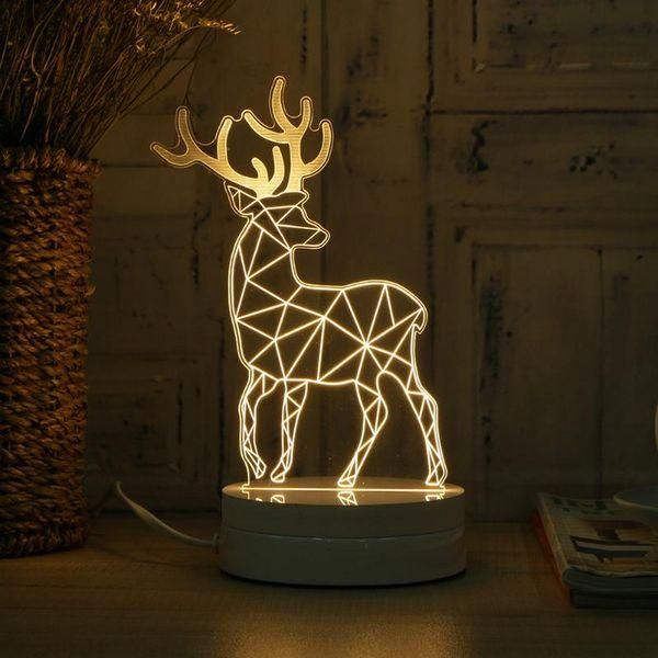 Deer Lamp And Eiffel Tower Lamp Soft And Warm Light Can Make You Feel Comfortable Best To Put It On The Desk Light Source 3d Illusion Lamp Lamp 3d Illusions