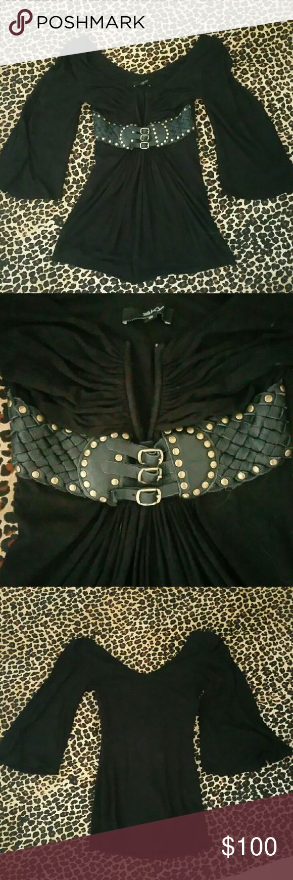 Sky Black Leather Bodice Off Shoulder Top Can be worn on or off the shoulders.  Gorgeous leather and brass studded bodice (see 2nd photo).  3/4 length flutter sleeves.  Gorgeous material, stretch and draping Sky is known for.  Worn once. Sky Tops