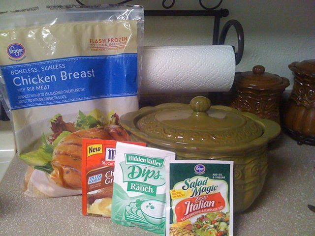 Bean Pot 3 Envelope Chicken  I would cook this in the crock pot on low   and serve over mashed potatoes.