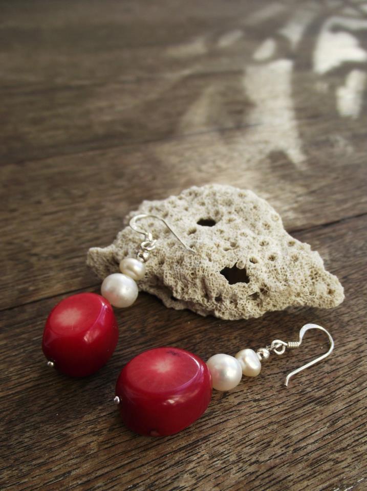 Coral & Freshwater Pearl   Sterling Silver Earrings:  http://www.facebook.com/ZadiaDesigns