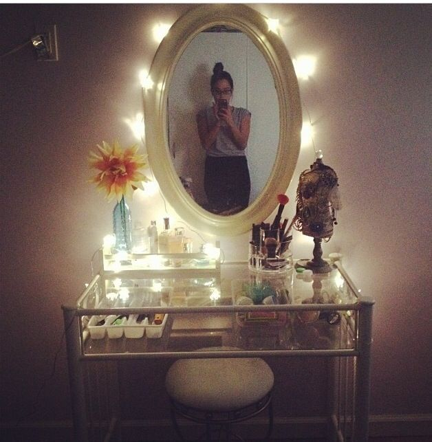 Homemade Vanity Mirror With Lights : DIY Vanity..spice rack shelf ikea-2.99USD . ,walmart mirror-USD 19.99 , flower lights from ikea 14.99 ...