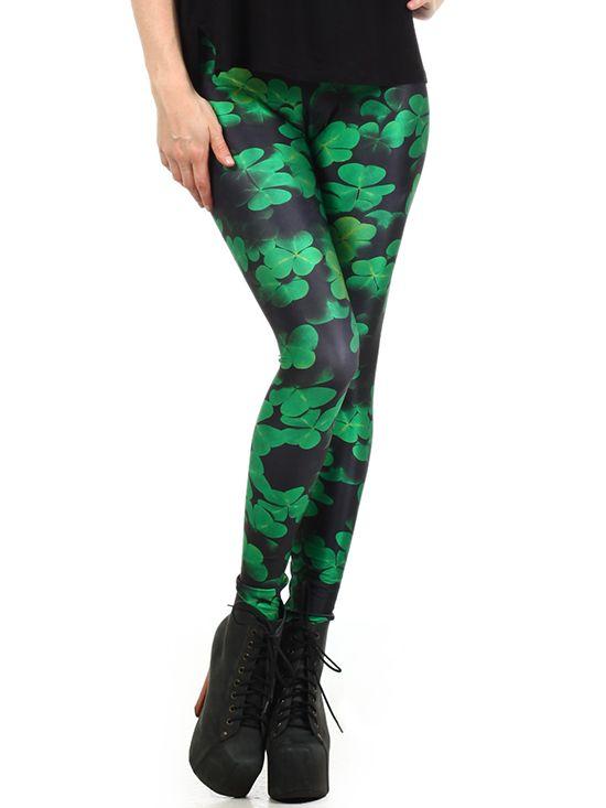 """Women's+""""Shamrock""""+Leggings+Poprageous+(Black/Green)"""