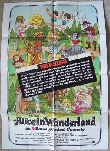 Alice In Wonderland: An X-Rated Musical Comedy: 1976/1979 XXX Release, Original theatrical one-sheet movie poster, General National Enterprises, Stars Kristine DeBell, Larry Gelman, Bucky Searles, Allan Novak, Terry Hall, and Jason (Flesh Gordon) Williams. Directed by Bud Townsend. $175