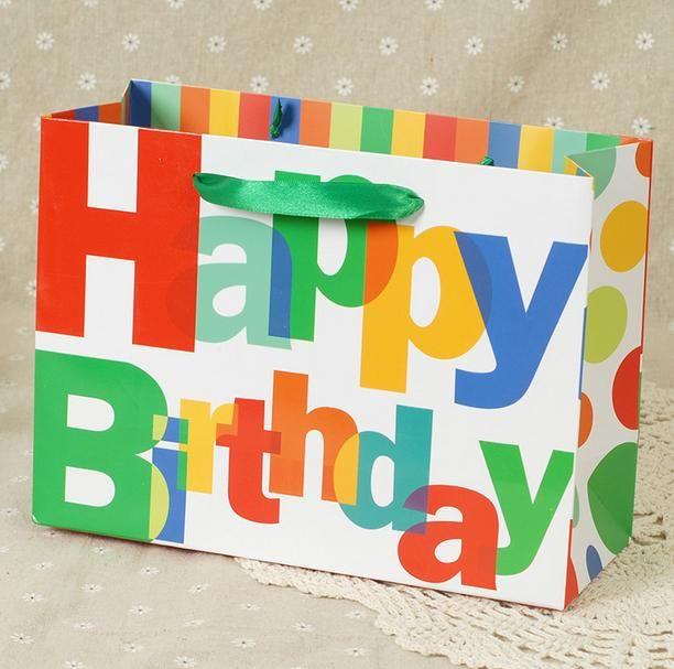 free shiping cute birthday alphabet pattern birthday gift paper bag  27*20*10.8cm 6pcs gifts bags wholesale