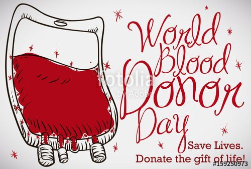 Hand Drawn Blood Bag with Stars for Blood Donor Day