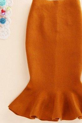 Оранжевая юбка-годе миди длины