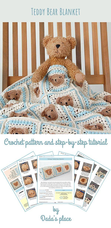 hand made crotchet Teddy Bear Blanket for baby.