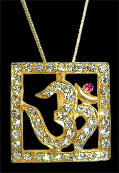 Gold Plated and Stone Studded Pendant - Om in a Square Frame (Metal)