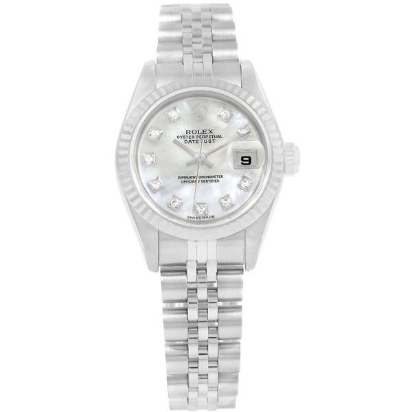 Pre-owned Rolex Datejust 79174 Stainless Steel MOP Diamond Dial... (£4,505) ❤ liked on Polyvore featuring jewelry, watches, diamond jewelry, diamond wrist watch, rolex wrist watch, stainless steel jewelry and diamond jewellery
