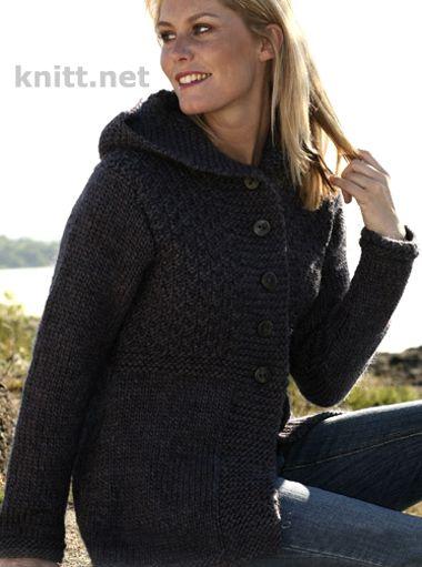 Жакет с капюшоном спицами, вязание для женщин, описание вязания, связать жакет, вязание спицами для осени, толстыми нитками,