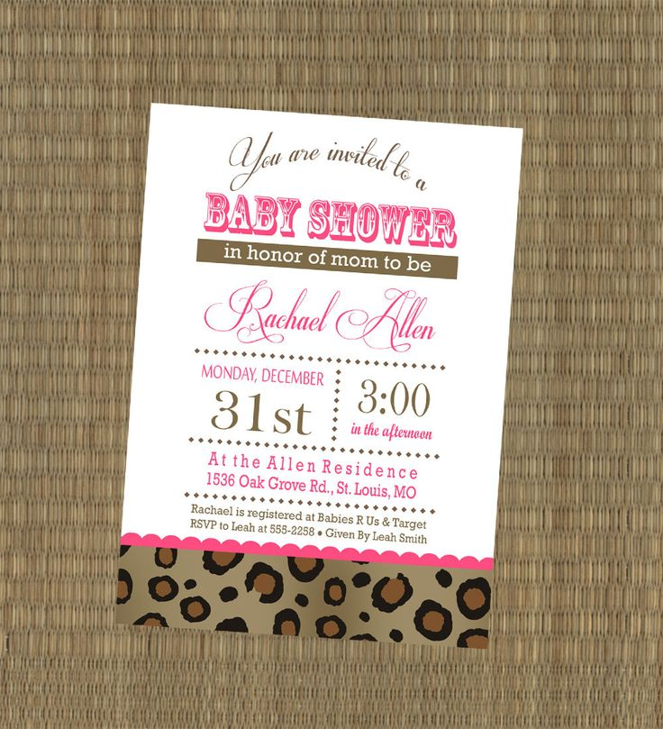 Printable Cheetah Baby Shower Invitation - Pink and Leopard Baby Shower Invitation - Custom Girls Baby Shower Invitation. $15.00, via Etsy.