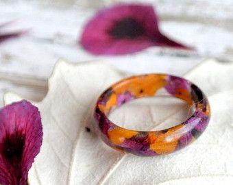 смолаа Eco кольцо-марсала смолы кольцо-лепестки цветов-природа вдохновила обручальные кольца-смолы кольца, цветок кольца природы-светлые-каждый день подарок ювелирных изделий