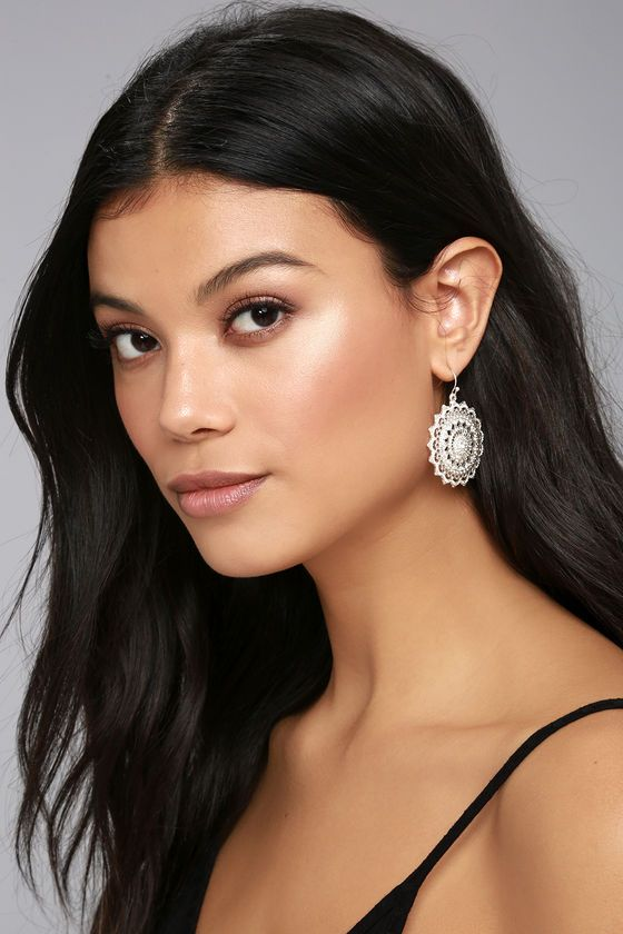 """Transport yourself to a magical place with the Mandala Bay Silver Earrings! Intricate rhinestone encrusted pendants dangle from fishhook backs. Earrings measure 2""""."""