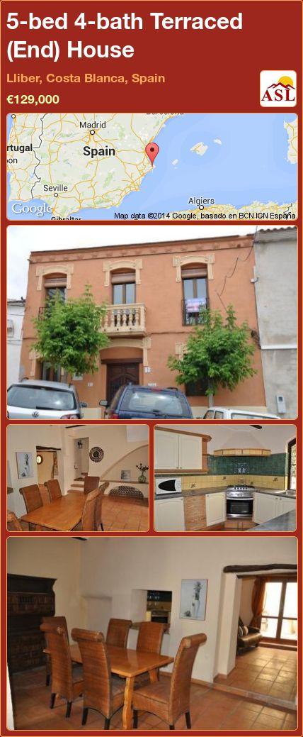 5-bed 4-bath Terraced (End) House in Lliber, Costa Blanca, Spain ►€129,000 #PropertyForSaleInSpain