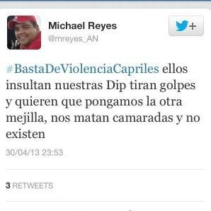 """Michael Reyes tuitea su """"coartada moral"""" poco después de apalizar al diputado Julio Borges en pleno parlamento, pero es tan corto que se condena a sí mismo: la sede parlamentaria es un lugar sagrado para los demócratas de verdad."""
