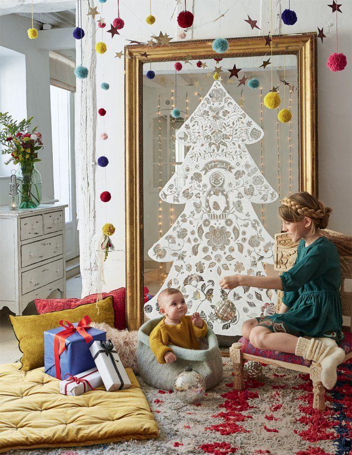 Décoration de Noël : un sapin au feutre posca sur un miroir - painted christmas tree - Marie Claire Idées