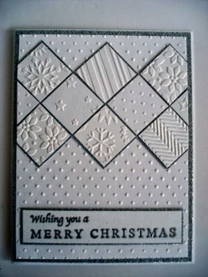 handmade Christmas card .... white with silver/black matting ... band of inchies with different embossed textures ... luv the white on white look ... wonderful card!!