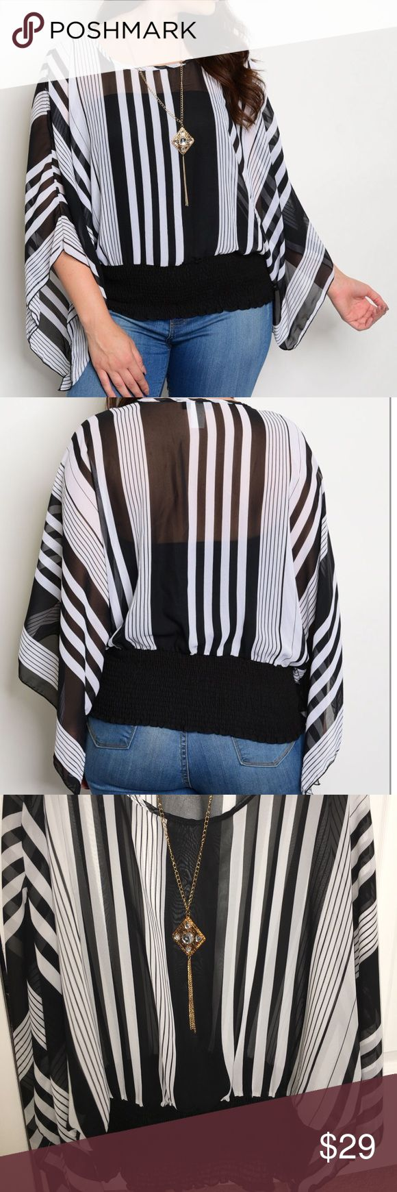 Sheer batwing top Black and white stripes. Round neckline. Detachable costume jewelry necklace. Colors may vary slightly to lighting and photos. No holes, rips or stains. Measurements approximately as shown. ❌Smoke and pet free home. ⚡️Same/next day shipping. 💲Save by bundling or make a reasonable offer through the offer button. 🚫No trades or modeling. 📦Wrapped and shipped with care. 🎁Includes free gift. Tops Blouses