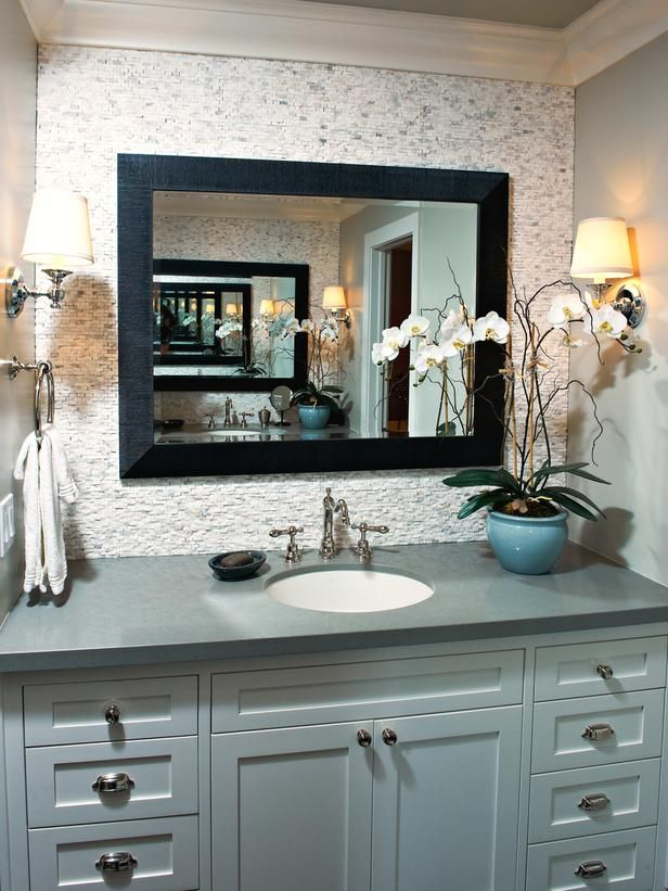 A Gray Green Vanity And Neutral Backsplash Provide A Foundation In This  Serene Transitional Bathroom. A Large Mirror Above The Undermount Sink,  Plus Another ...