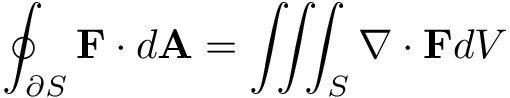 Divergence Theorem: The value of the integral over the boundary ∂S of a simple, solid, outwardly oriented region S, whose components have continuous partial derivatives, is related to the volume that surface encloses. This theorem can be used to find the electric field strength at a certain point from a charged particle. The surface S must enclose the charge.