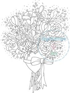 Rose heart bouquet colouring page