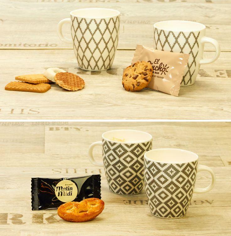 Koffiekoekjes voor een restaurant, café, etc. Diverse koekjes verpakt in eigen folie. Bedrukt met logo en in eigen huisstijl.