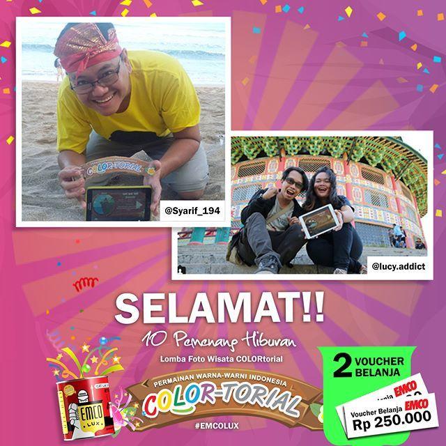 Inilah PEMENANG hiburan Lomba Foto Wisata COLORtorial EMCO!  SELAMAT kepada @syarif_194 dan @lucy.addict  Sertakan nama lengkap, alamat lengkap dan nomor telepon ke message fanpage/direct message/inbox EMCO Paint. ^_^  Hadiah berupa voucher belanja masing-masing sebesar Rp 250.000  Selanjutnya siapa pemenangnya ya?  #EMCOLUX, #COLORtorial #travelindonesia #pesonaindonesia #warna #ngecat #surabaya #jakarta #depok #tangerang #bogor #bekasi #bandung #bali #denpasar #jogja #semarang #solo…