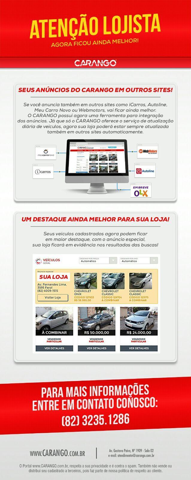 Integração é conosco, integre seus anúncios pelo Carango para sites, tais como: iCarros, MeuCarroNovo, Autoline, WebMotors e em breve OLX.  Me consulte : (82)99638-6737 (Whatsapp)