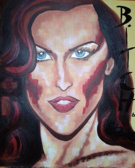 Bitch by STEFANO acrylic on canvas(50x60cm) fashion art 2014 portrait,paint,painting,painter,modernpainting,art,fashionart,acrylic,canvas,artist