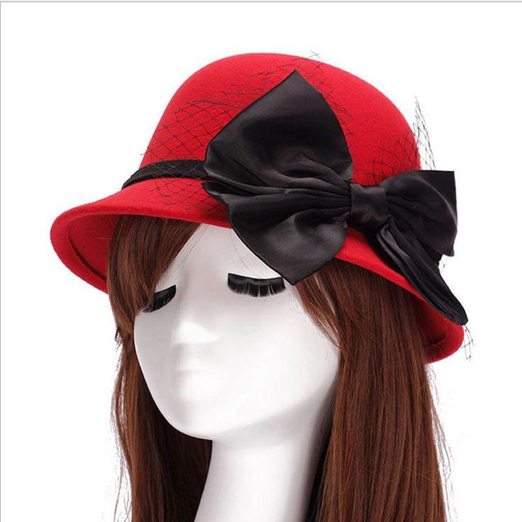 >> Click to Buy << Lace wide brim felt has fedora hats for women big bow of fall winter chapeu feminino sombrero floppy bowler ladies bucket cap #Affiliate