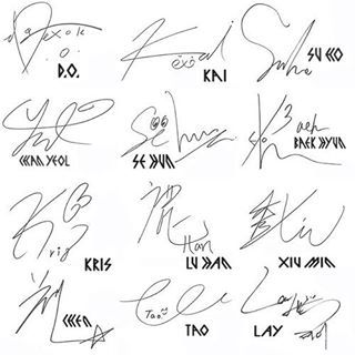 EXO signatures Is it just me, or does Sehun have eyes on his name? <<< looks like a duck