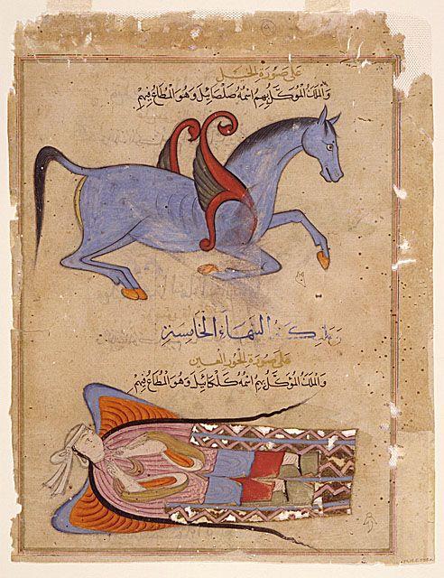 from al ajaib al makhluqat 1570 winged horse  angel.