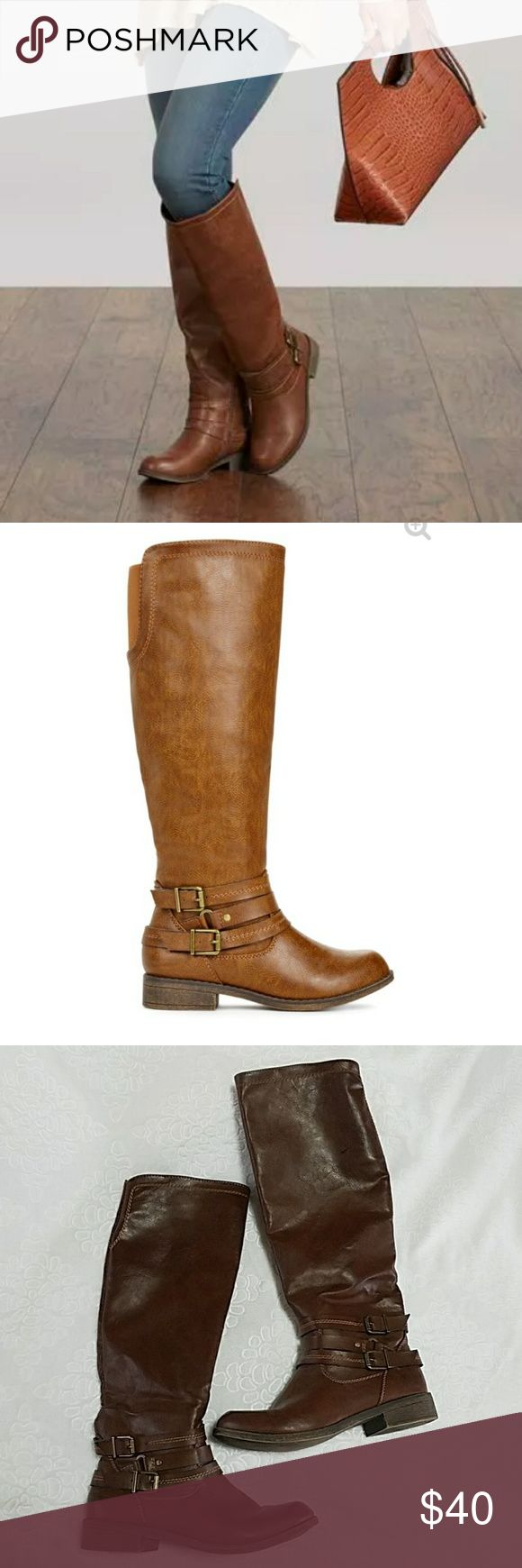 Just Fab Tall Brown Boots Tall brown Austie boots from Just Fab. Cute buckle design on side, zip up inner. Actual boot is pictured after the first two pictures. Some small signs of wear but overall still in great condition!   Height of boot 18.75 in.  🖤🖤🖤 JustFab Shoes Over the Knee Boots