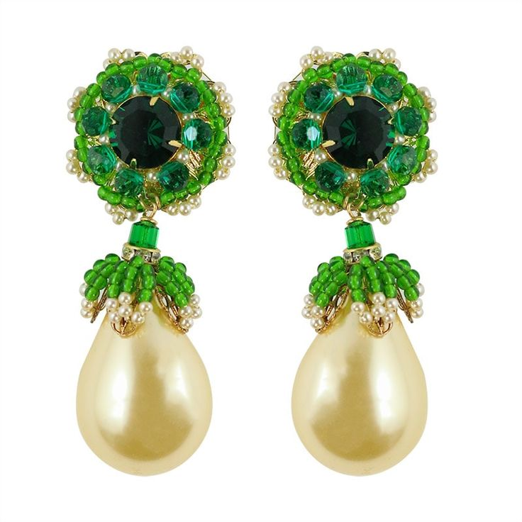 Lawrence VRBA Signed Statement Earrings - Faux Pearl, Green Crystal (clip-on)