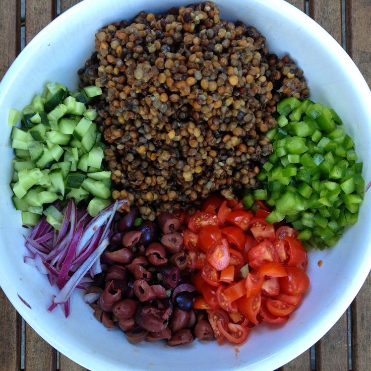 MEDITERRANEAN LENTIL SALAD: 2 cups lentils 1 pint cherry tomatoes 1 green bell pepper diced 1/2 cup red onion sliced thinly 1/2 kalamata olives sliced 1/2 English cucumber diced DRESSING: 3 TBSP olive oil 3 TBSP lemon juice (juice from one lemon) -1TBSP apple cider vinegar 2 TSP honey 1 TSP dijon 1 clove garlic minced 1/2 teaspoon oregano 1/2 teaspoon salt and pepper