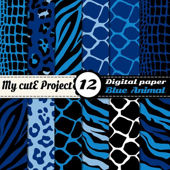 Digital Paper: Animal Print blue Scrapbooking & by Mycuteproject