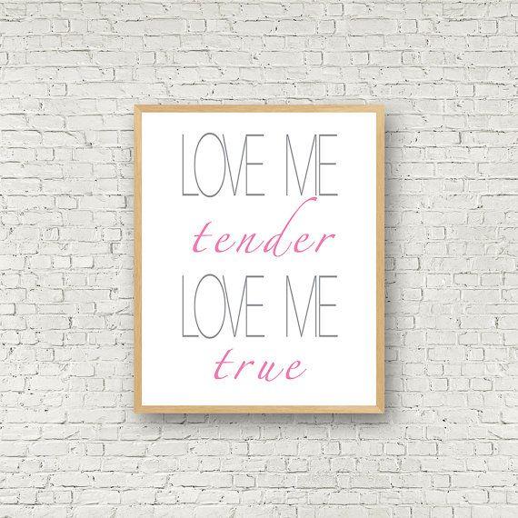 Love me tender Wall Art Gris et Rose Digital Art par MamzelleJules