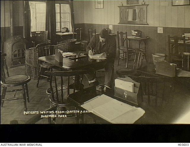 Harefield, England. c. 1918. The patients' canteen and writing room at No 1 Australian Auxiliary Hospital.
