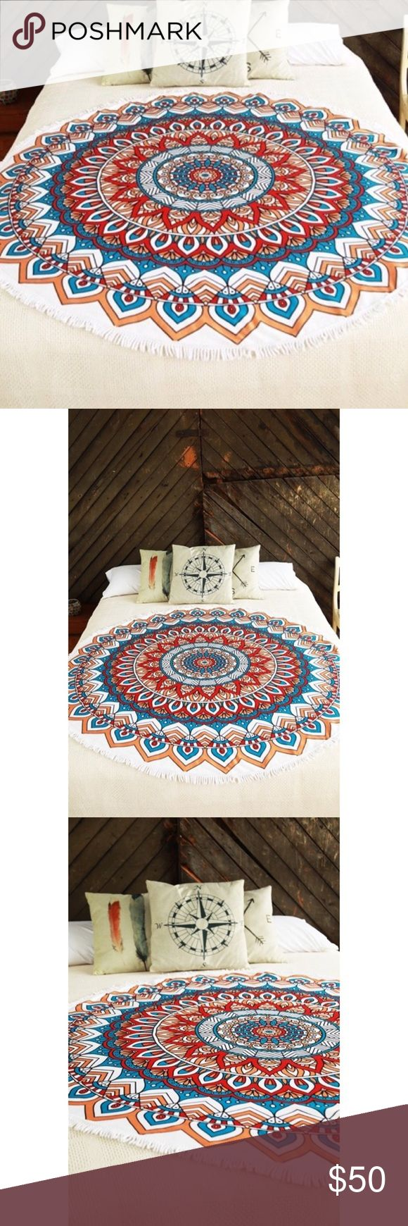 """Mandala Roundie Beach Coverup/Wrap/Towel 🚫Price firm, bundle to save 🚫 📸 Color may vary due to device color calibration, and photography lighting  💗Beautiful microfiber wrap/cover up/towel 💗 100% cotton/microfiber  💗 Approximately 61""""x61"""" Accessories"""