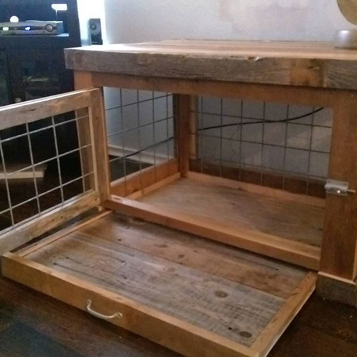 This unique reclaimed cedar end table crate with pullout tray The outside…
