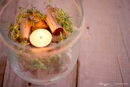Cork candle and rosemary centerpiece party ideas diy
